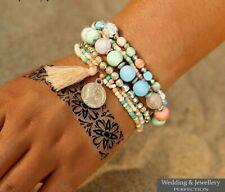 Multicolor Beads Weave Tassel Bracelet Multilayer Coin Bracelets For Women Punk
