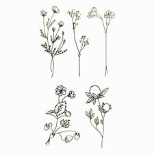 Impermeable Tatuaje Temporal Falso Pegatinas Elegante Negro Gris planta simple