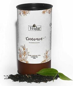 Tea Jar Cinnamon Flavoured Organic Loose Tea  Ceylon Black Tea (175g) Handpicked