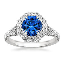 2.05 Ct Round Blue Sapphire Diamond Engagement Ring 14K White Gold Rings Size O