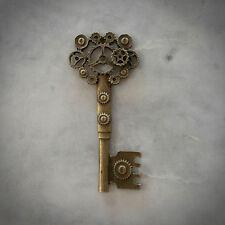 Antique Gold Cogs Key Pendant - Vintage - Steampunk - Gothic