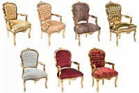 Poltrona sedia Barocco LUIS finitura bianco noce nero bandiera UK e USA 6 colori