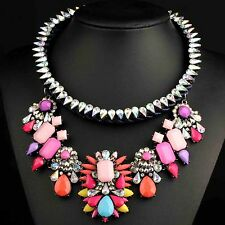 chunky Multi-Color collar Chain Necklace pentand Crystal Bib Statement charm