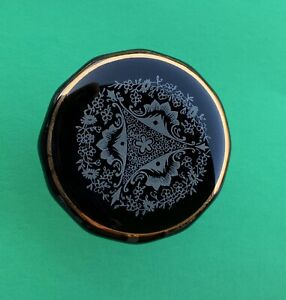 "2"" Dia Black Antique Glass Porcelain Cabinet Knob Drawer Pull French Provincial"
