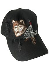 NEW Native Pride Wolf & Feathers Embroidered Baseball Hat Black