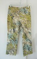 womens multi color CACHE pants slim skinny floral zipper ankle crop funky XS 2