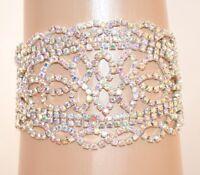 PULSERA mujer plata strass boreal cristales ceremonia novia elegante fiesta E105