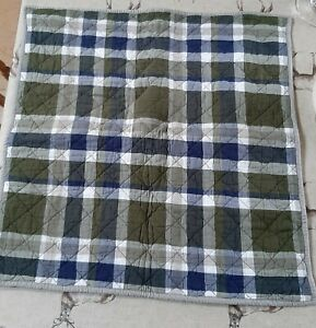 Pottery Barn Kids Quilted Square European Sham Pillow Case Green Navy White...
