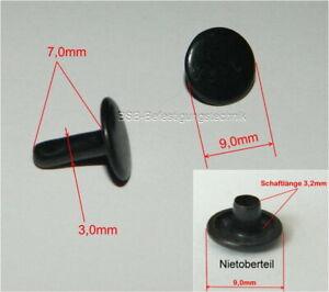 500 RUNDNIETEN Ziernieten Nieten Hohlnieten Farbe SCHWARZ 5mm p00kn0052x2v