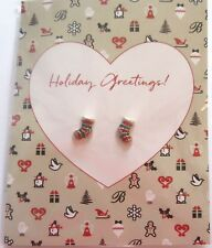 Brighton Blingy Stockng Earrings -post back -on pretty card-green red silver