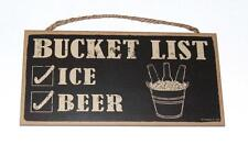 "Bucket List, Ice Check, Beer Check - 5""x10"" Wood Sign Plaque for Bar, Gameroom"
