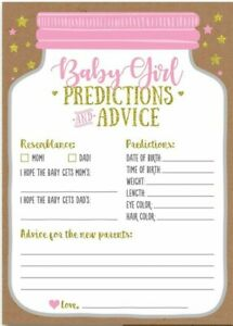 50x Kraft Baby Shower Predictions and Advice Cards for Girls 5 x 7 Inches