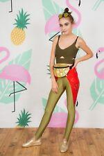 80s vintage khaki gold & red craxy pattern lycra leggings disco pants by Janino
