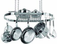 Hanging Pot Rack Ceiling Mount Stainless Steel Oval Hooks Pan Kitchen Organizer