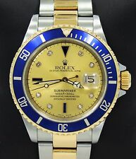 Rolex Submariner 16613 18k Yellow Gold/SS Serti Blue Sapphires & Diamonds *MINT*