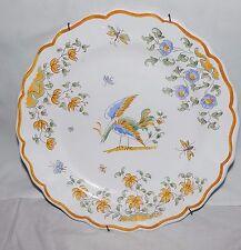 "Antique Decor Olerys Faience a` de Moustiers Plate Multi pheasant peacock 10.5"""