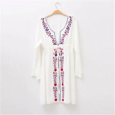 70s Vintage Women's Boho Style Floral Embroidered Festival Mini Home Short Dress