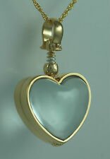 Plated Locket Jewelry With Chain Memorial Glass Sterling Silver Heart Gold