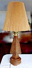 Mid-Century Modern Romweber Viking Oak Collection 4-Sided Carved Table Lamp.