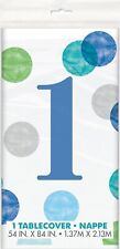 First 1st Birthday Party Dots Blue Green Teal Table Cover Tablecloth Plastic Boy