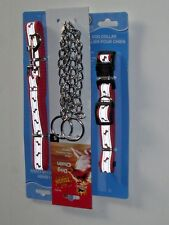 DOG LEASH/ CHOKE CHAIN/ COLLAR COMPLETE SET SMALL REFLECTIVE RED CMY OTHER ITEMS