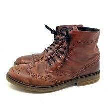 Men's ROGUE 10.5 Distressed Leather Lace Up Ankle Boots Brown / Reddish Hipster