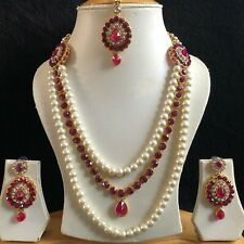 PINK GOLD KUNDAN INDIAN COSTUME JEWELLERY NECKLACE EARRINGS CRYSTAL SET NEW 205