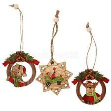 3pcs Vintage Wooden Christmas Ornaments Hanging Decorations Pendant Decor