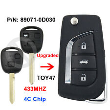 Upgraded Remote Key 433MHZ 4C Chip TOY47 for Toyota Yaris Avensis 89071-0D030