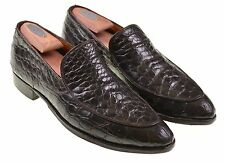 VTG 1960s Florsheim Brown ALLIGATOR V-CLEAT Split Venetian Loafers Shoes 10 B