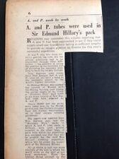 G2-1 Ephemera 1953 Article A And P Tubes Supplied Edmund Hillary Everest Climb