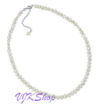 White Freshwater Pearl Single Row Necklace Sterling Silver Jewellery 41-46 cm
