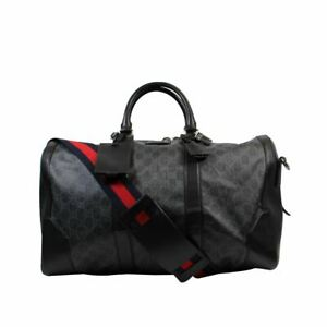 "GUCCI Black Large GG Supreme Duffle Bag Weekend Bag, 11"" X 9.8"" X 17"""