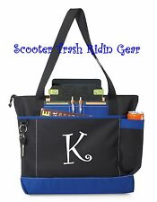 Personalized Tote bag book monogram Royal blue black Nurse Anchor teacher RN LPN