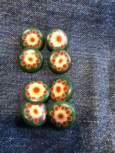 10 Rare Vtg Polka Dot Cream Red Yellow Green Bakelite Buttons Flower Lot Of 10