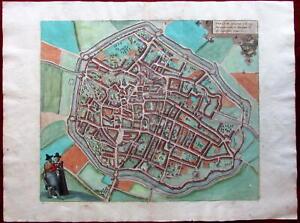 Douai Dovay France c.1580 Braun & Hogenberg city plan large map old hand color
