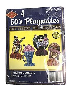 50's Theme Playmates Art Tissue Party Decorations Full Round Stand Up - 4 Pack