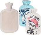 Natural Rubber Hot Water Bag 2L for Heat Therapy with 2 Replaceable Soft Covers