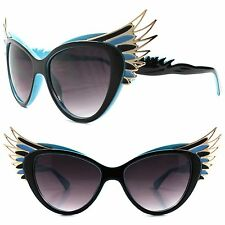 Unique Vintage Retro Funky Oversized Wing Tip Blue & Gold Cat Eye Sunglasses