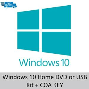 Microsoft Windows 10 Home Edition 64bit DVD or USB + Activation Key License Code