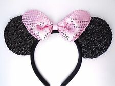 MINNIE MOUSE EARS Headband Black Sparkle Shimmer - Pink Sequin Bow Mickey