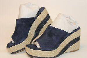 Paloma Barcelo Womens 37 7 Blue Suede Slides Platform Sandals Heels Shoes