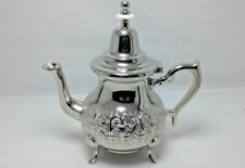 Handmade From Fes Moroccan TeaPot Serving 12 Tea Cups Brass Silver Gray Plated