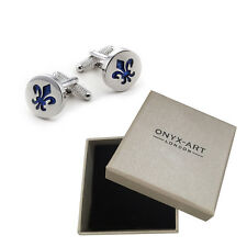 Mens Silver Cufflinks & Gift Box With Blue Fleur De Lis Scout Logo By Onyx Art