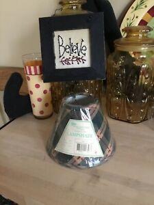 "PARK DESIGNS Homestead Hunter Green Burgundy Beige  6"" LAMP SHADE NEW"