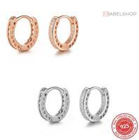 925 Sterlingsilber Ohrringe Damen Ohrstecker Creole Rosegold Circle Rund Silber