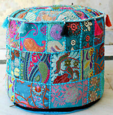Indian Cotton Floor Ottoman Pouffe Vintage Embroidered Patchwork