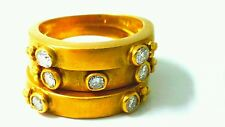 Antique 0.45ct Natural Excellent Diamonds 18K Yellow Gold Wedding Band Set Ring