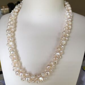 NEW 48cm Three Stands 8-9/7-8/5-6mm baroque White freshwater pearl necklace AA