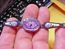 RARE LUCH Russian LADIES Watch SILVER Bracelet Filigree  ENAMELED 15J WINDUP 625